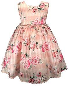 Vestido Infantil Floral Rosas e Cinto de Pérolas
