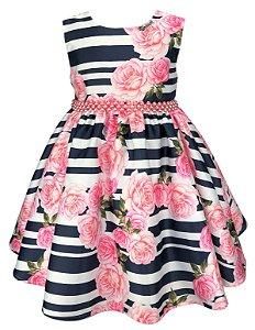 Vestido Infantil Flores e Listras