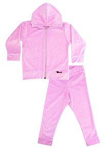 Conjunto Infantil de Plush Rosa com Capuz e Strass