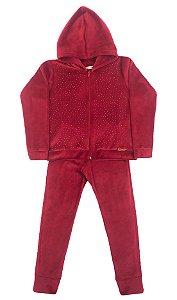 Conjunto Juvenil de Plush Vermelho com Capuz e Strass