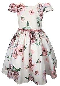 Vestido Juvenil Floral Cru