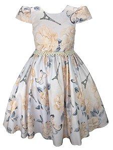 Vestido Juvenil Floral e Borboletas