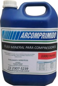 Óleo Mineral 1000 Hrs Compressor de Pistão Fiac  5l