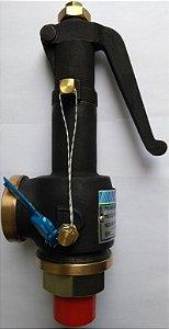 """Válvula Segurança com Alavanca para Vapor DN 3/4"""" x 3/4"""" BSP Pressão 8kg"""