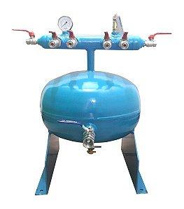 """Coletor de Ar Comprimido Compacto para Pressão até 12,3kg com 1 Entrada de 1"""" e 6 Saídas"""