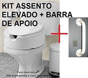 Assento Sanitário Elevado 13,5 cm kit com tampa + Barra de Apoio - Acessibilidade