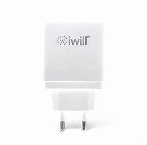Carregador de Parede com 2 saídas USB + USB-C PD Branco - Iwill