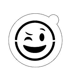 Stencil topo de bolo- Emoji Piscando