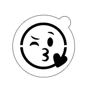 Stencil topo de bolo- Emoji Beijo apaixonado