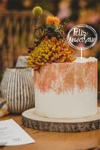 Topo de bolo -Feliz aniversario 1 -MDF - Várias cores