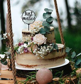 Topo de bolo -Just Married -MDF - Várias cores