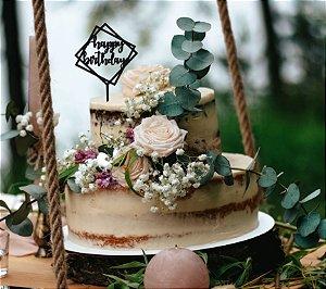 Topo de bolo -Happy Birthday Square -MDF - Várias cores
