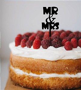 Topo de bolo -Mr&Mrs - MDF - Várias cores