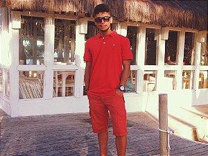 Camisa Polo Vermelha Bordado