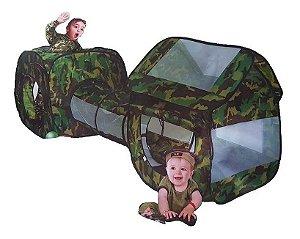 Toca com Túnel Barraca Infantil 3 em 1 Camuflada+ (COM bolinhas)