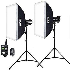 Estúdio Fotográfico Godox SK-300 Softbox + Controle Remoto Disparador USB