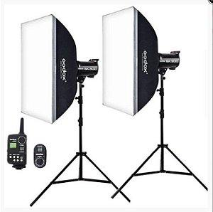 Estúdio Fotográfico Godox SK-400 Softbox + Controle Remoto Disparador USB