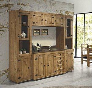 Cozinha Compacta Rústica com 4 Módulos em Madeira Maciça na Cor Cera Mel
