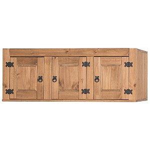 Armário Aéreo Rústico de Cozinha em madeira Maciça na Cor Cera Mel