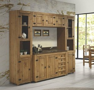 Cozinha Compacta Rústica em Madeira Maciça com 4 Módulos mais Balcão com Tampo de Madeira