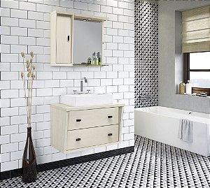 Conjunto para Banheiro Suspenso com Espelheira e Balção com 2 Gavetões no Tamanho de 100cm com Cuba e Luminária na Cor Aspen