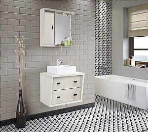 Conjunto para Banheiro com Espelheira e Balção com 2 Gavetões no Tamanho de 65cm com Cuba e Luminária na Cor Aspen