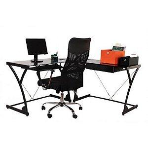 Mesa para Computador Bérgamo em L na Cor Preta