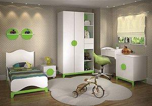 Ambiente infantil Drope na Cor Branco com Verde