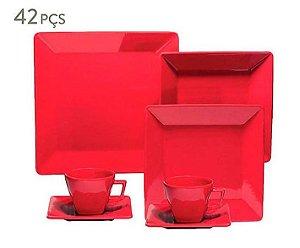 Jogo de Jantar Quartier Red - Para 06 Pessoas 42 Peças