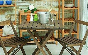 Kit Mesa Boteco no Tamanho 70 X 70cm Dobrável com 2 Cadeiras na Cor Nogueira
