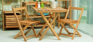 Kit Mesa Boteco no Tamanho 70 X 70cm Dobrável com 2 Cadeiras na Cor Jatobá