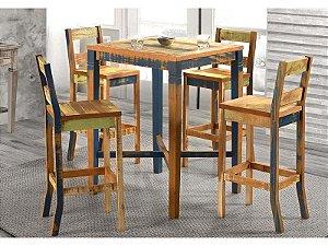 Conjunto Mesa Quadrada Bistrô com 4 Banquetas Demolição - Retalhos Coloridos