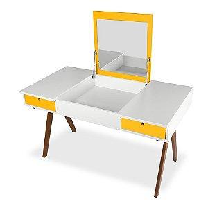 Escrivaninha ou Penteadeira Delacroix com 2 Gavetas na Cor Branco com Amarelo