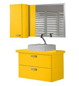 Conjunto de 3 Peças Para Banheiro Kenzo na Cor Amarela