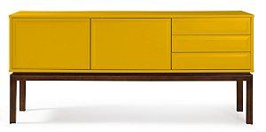 Buffet Quartzo com 2 portas e 3 Gavetas com Pés em Madeira Maciça na Cor Amarela