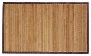 Tapete de Bambu com Borda de Tecido no Tamanho 50cm X 80cm na Cor Carbonizado
