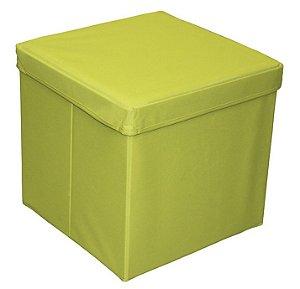 Puff Bau Revestido em Lona na Cor Verde Limão