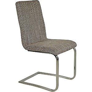 Cadeira Zurique com Tecido Sintético Macciato e Base em Inox na Cor Cinza