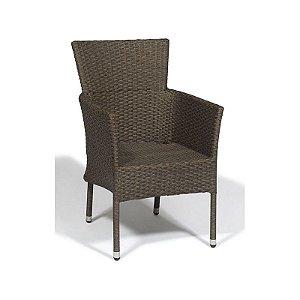 Cadeira de Aluminio Odder Revestida em Fibra Sintética na Cor Marrom