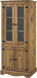 Cristaleira Rústica com 2 Portas e 2 Portas de Vidro em madeira Maciça - Ref.206