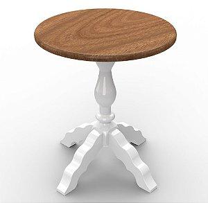 Mesa Encanto Criare em madeira Maciça na Cor Branca com Nozes - Euclar
