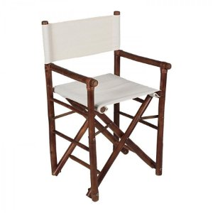 Cadeira de Bamboo com Tecido na Cor Marrom