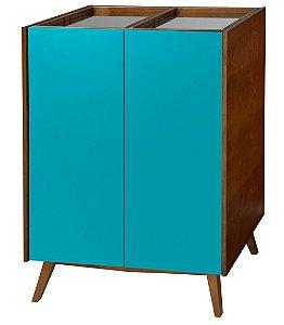 Adega Novita com 02 Portas e Bandeja Superior com Espelho na Cor Azul Turqueza