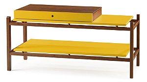 Aparador Uno com Gaveta e Prateleiras - Amarelo