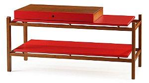 Aparador Uno com Gaveta e Prateleiras - Vermelho
