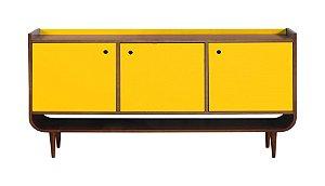 Buffet 03 Portas Dylan com Pés Palito na Cor Amarelo