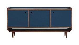 Buffet 03 Portas Dylan com Pés Palito na Cor Azul Marinho