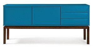 Buffet Quartzo com 2 portas e 3 Gavetas com Pés em Madeira Maciça na Cor Azul Turqueza