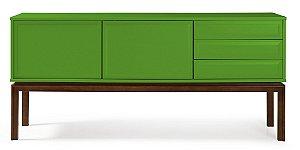 Buffet Quartzo com 2 portas e 3 Gavetas com Pés em Madeira Maciça na Cor Verde Limão