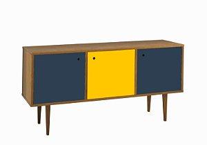 Buffet Vintage com 02 Portas na Cor Azul e 01 Porta na Cor Amarela